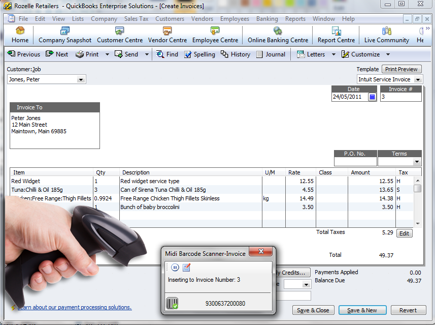 Scan Barcodes Into QuickBooks Zed Midi - Barcode scanner invoice software