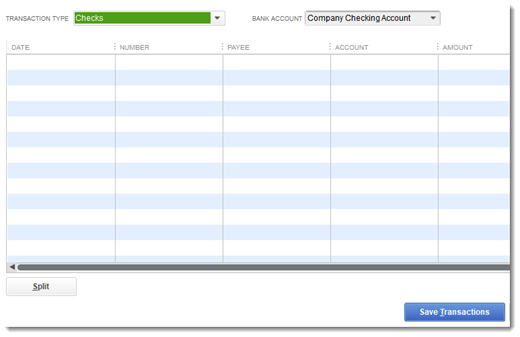 QuickBooks Accountant Batch Enter Transactions grid